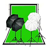 CowboyStudio Complete Photography and Video Studio 900 Watt Two Reflective Two Soft Umbrella Lighting Kits with 10'x12' Black White Chromakey Green 3 Muslin Backgrounds and Backdrop Support Stands