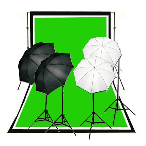CowboyStudio Complete Photography and Video Studio 900 Watt Two Reflective Two Soft Umbrella Lighting Kits with 10'x12' Black White Chromakey Green 3 Muslin Backgrounds and Backdrop Support Stands by CowboyStudio