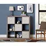 9-Cube Storage,Multiple Colors,Living Room Cabinet,Storage Unit,Versatile Design, For Storage Bins,Home and Office Furniture,Bookcase,Shelving,Bookshelf,Open Storage Unit, BONUS e-book (Rustic Gray)