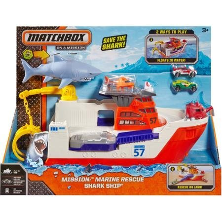 Matchbox Car-Go Commander Shark Ship, Floats in Water and Rolls on Land