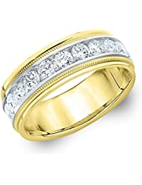 14K Two Tone Gold Diamond Men's Polished Milgrain Band (1.50 cttw, H-I Color, I1-I2 Clarity)