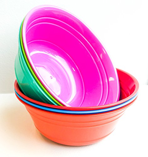 Mintra Home Plastic Snack Bowls (Small 6pk (970ml), Assorted)