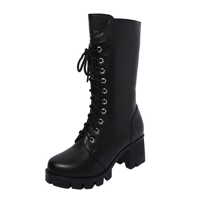 Memefood Botas De Altos Tacón Grueso Mujer Zapatos Militares De Cuero Artificial Impermeable Zapatos Tobillo Con Cremallera Con Cordones Cruzados Botines De ...