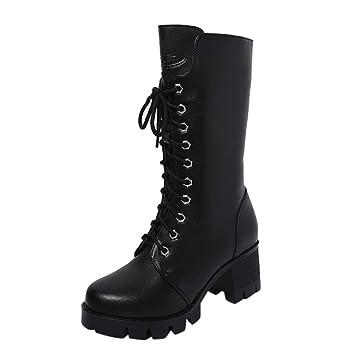 ZARLLE Zapatos Mujer OtoñO Invierno 2018 Botas De Plataforma Zapatos De TacóN Botines Zapatos Interiores Botines De Mujer Botines De Cuero Caballero Boots ...