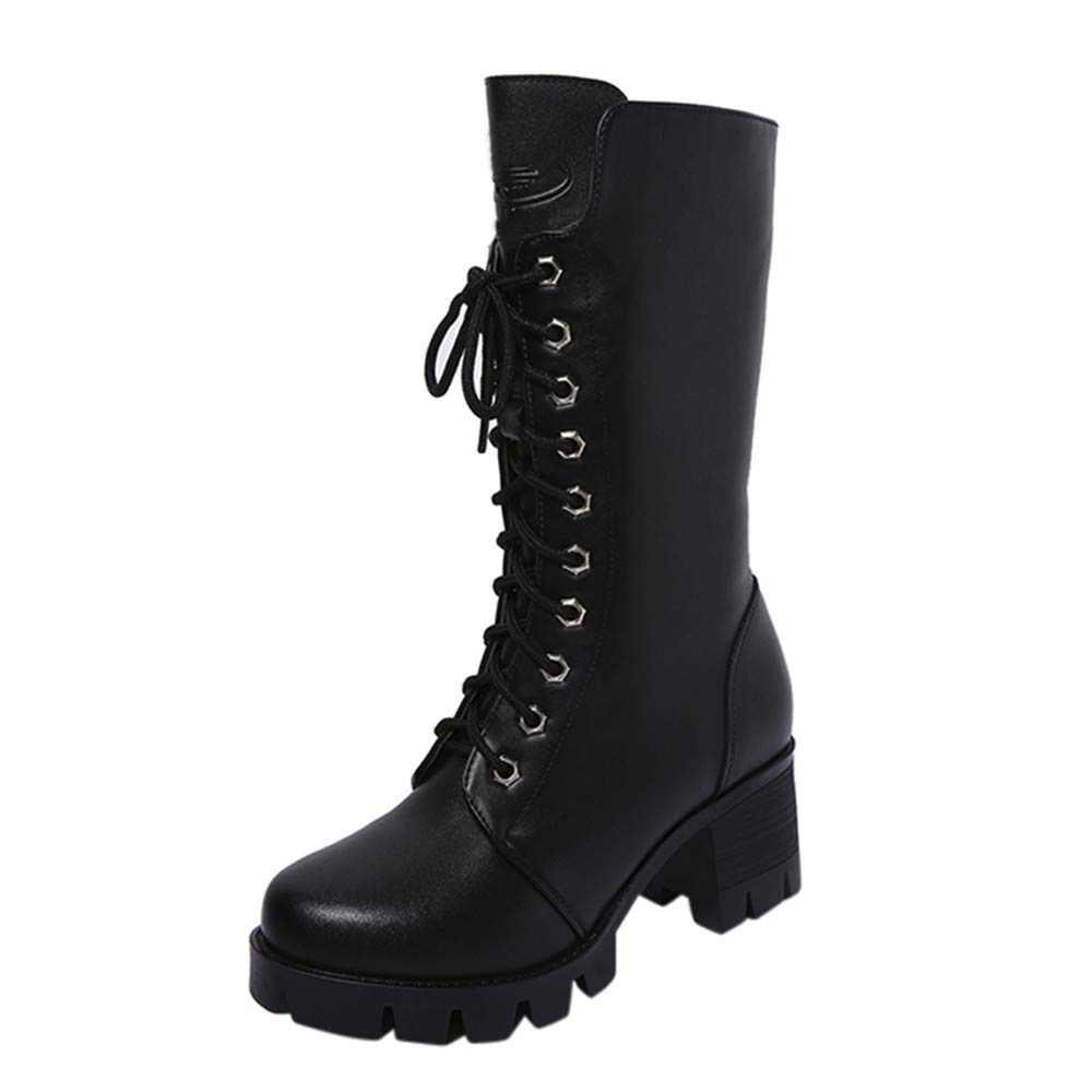 Clearance Sale! Caopixx Boots for Women Knee High Lace ups Straps Boots Steampunk Gothic Retro Punk Buckle Boots Soft