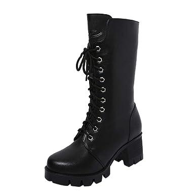 YiYLunneo Calzado Botas De Nieve Mujer Invierno Botines Tobillo Cuero Muere Caballero Zip Zapatos Vaquero CN 36-40: Amazon.es: Ropa y accesorios