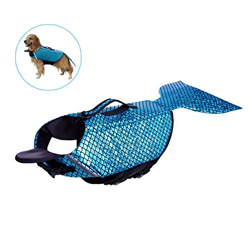 KINGSWELL Dog Life Jacket Mermaid Floatation Vest Saver Safety Swimsuit Preserver Pet Lifesaver with Reflective Lines and Adjustable for Small Medium Large Dogs (M)