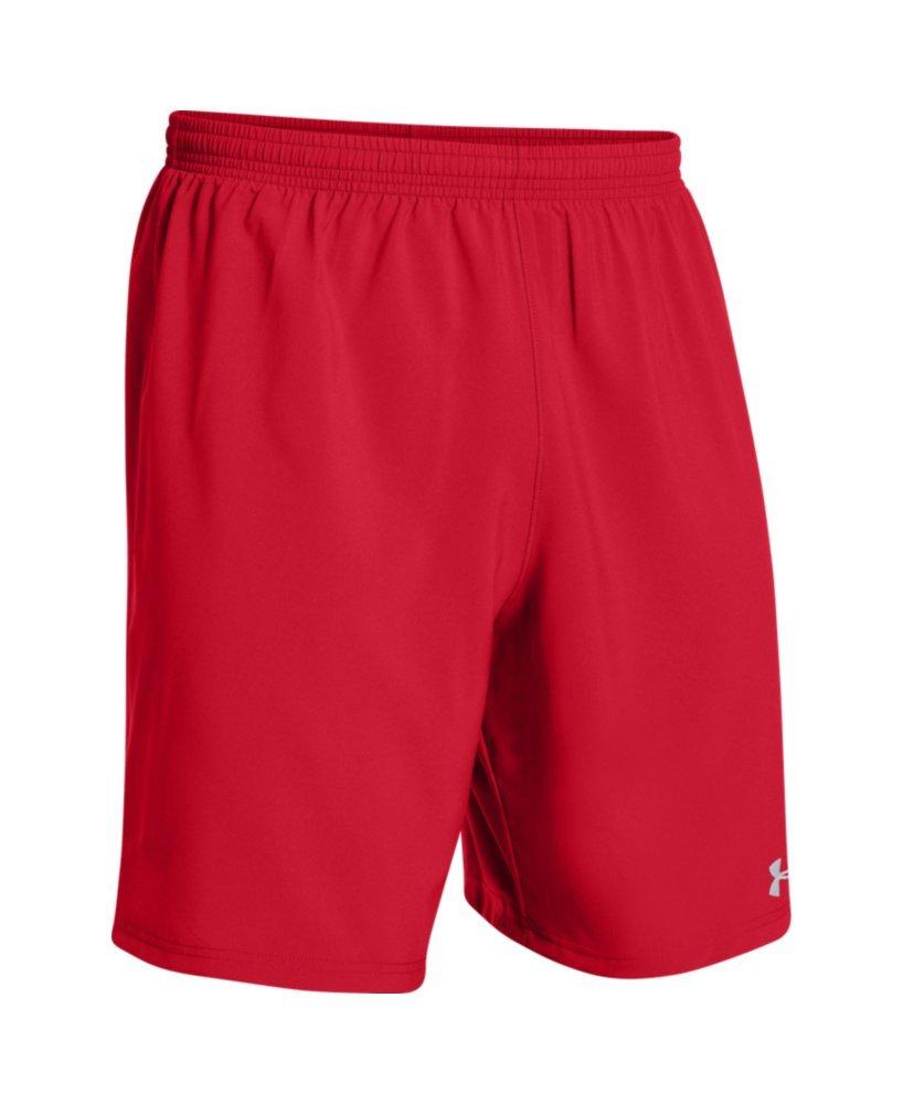Under ArmourメンズHustle Soccer Shorts B00Y2T6NEW Small|レッド/ホワイト レッド/ホワイト Small