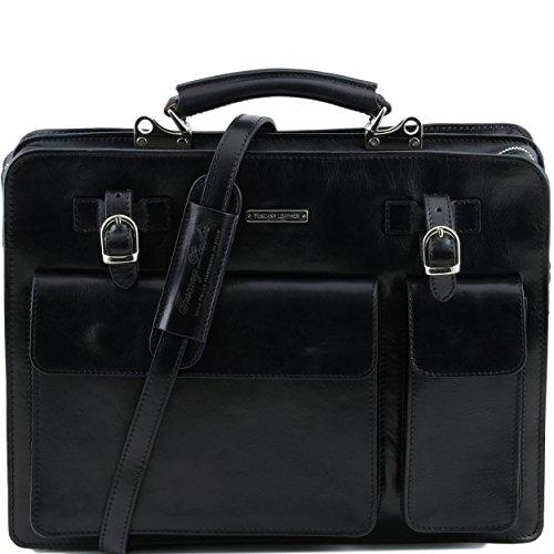 Bolso Unique Leather De Negro Piel Para Hombre Hombro Al Tuscany Taille C5Fx1qwvOv