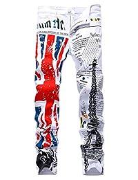 Men's Flag Printed Jeans Pants Skinny Slim Fit Straight Denim Stretch Pants