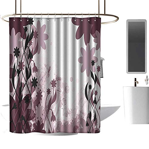 coolteey Shower Curtains Fabric Zen Floral Decor,Daisy Like Garden Flowers Swirls Leaves Abstract Background Art,Dried Rose White,W48 x L72,Shower Curtain for Kids