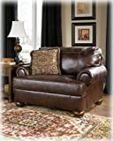 Ashley Furniture Signature Design - Axiom Chair Oversized Chair with 1 Accent Pillow - Genuine Leather - Grand Elegance - Walnut