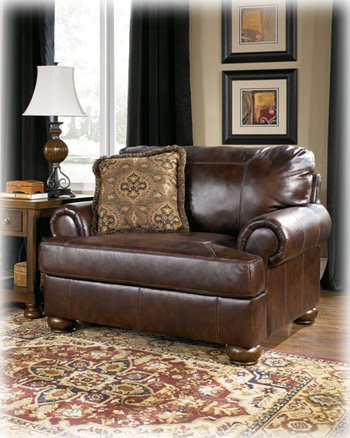 Ashley Furniture Signature Design - Axiom Chair Oversized Chair with 1 Accent Pillow - Genuine Leather - Grand Elegance - (Genuine Leather Living Room)