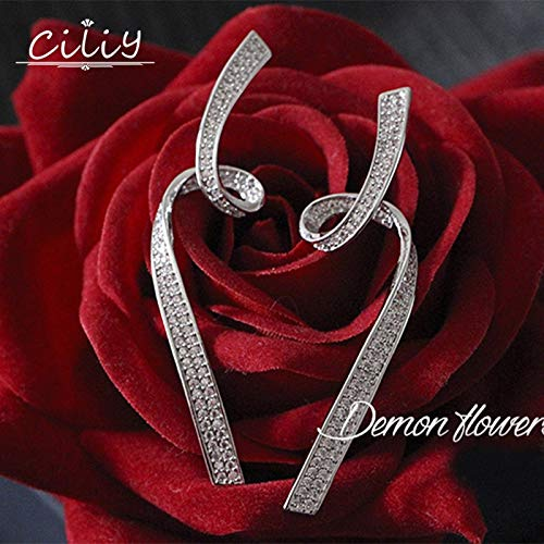 (2018 Fashion S925 Silver Zircon Cz Stone Bending Ribbon Earrings Luxury Jewelry Crystal Drop Earring Wedding Women We84401)