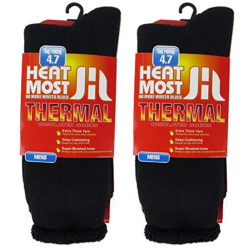 DEBRA WEITZNER Mens 2 Pairs Heavy Insulated Thermal Socks - 5X Warmer Thermal Boot Socks For Extreme Temperatures 4.7 Tog Rating