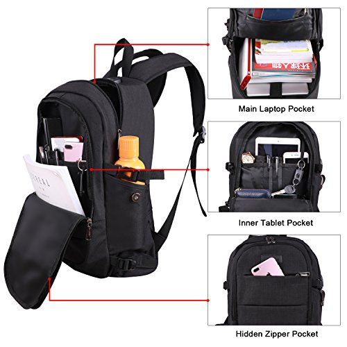 Tzowla Business Laptop Backpack Water Resistant Anti-Theft College Backpack with USB Charging Port and Lock 15.6 Inch Computer Backpacks for Women Men, Casual Hiking Travel Daypack (Black) by Tzowla (Image #4)