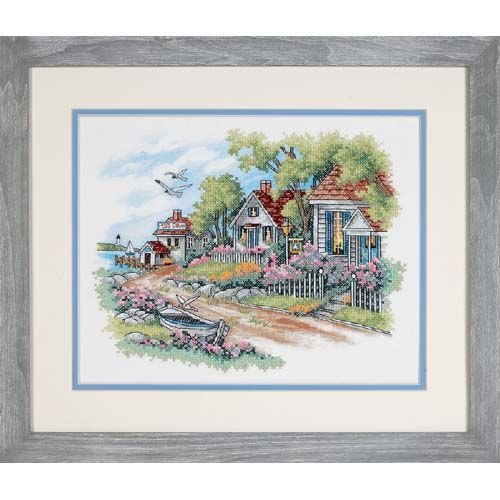 DIMENSIONS Needlecrafts Stamped Cross Stitch, Cottages by...
