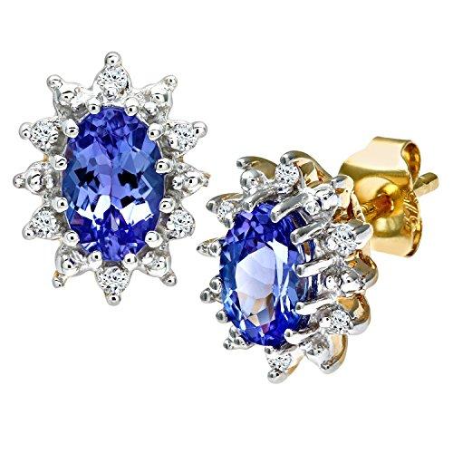Revoni Bague en or jaune 9carats-Tanzanite et Diamant Boucles d'oreilles grappe