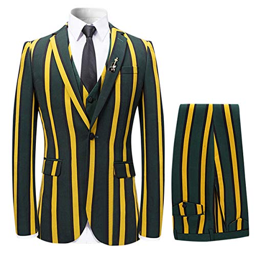 YFFUSHI Men's Colored Striped 3 Piece Suit Slim Fit Tuxedo Blazer Jacket Pants Vest Set, Yellow, Small
