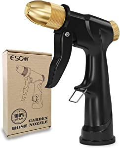 ESOW Garden Hose Nozzle, 100% Heavy Duty Metal Spray Gun with Full Brass Nozzle, High Pressure Watering Nozzle, Adjustable Spray Water Flow for Watering Plants, Showering Pet, Washing Car, Cleaning