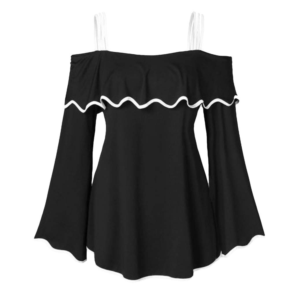 Women's Off The Shoulder Top Blouse Strappy Long Flare Sleeve Ruffle Peplum Tunic Shirts (M, Black)