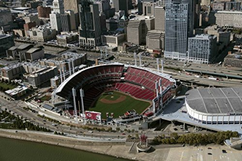 Photograph| An aerial view of Cincinnati, Ohio, with a close look at the Great American Ballpark, home of major league baseball's Cincinnati Reds franchise 1 Fine Art Photo Reproduction 44in x 30in