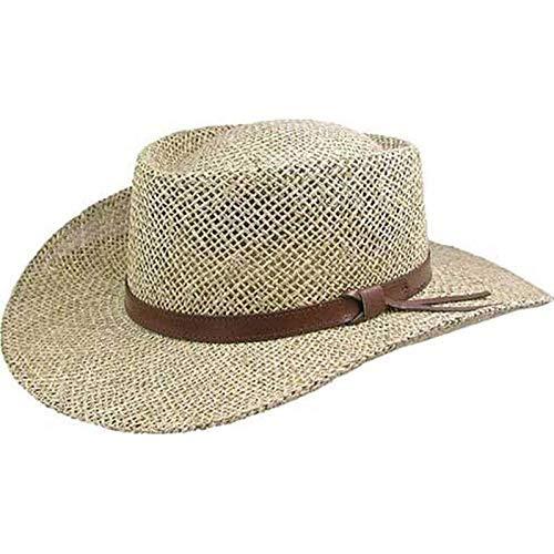 Stetson Gambler Seagrass Outdoorsman Hat,Wheat,Large/X-Large Design Genuine Leather Cowboy Hat