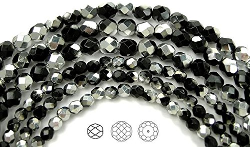 4mm (102 beads) Jet Labrador CAL Coated (Half Siver), Czech Fire Polished Round Faceted Glass Beads, 16 inch strand