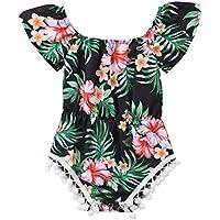 rechange Baby Girl Romper Pompom Jumpsuit Floral One Piece Bodysuit Off Shoulder Short Sleeve Playsuit