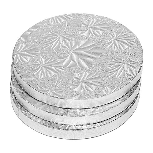 Cake Boards Rounds - 3 Piece Silver Foil Pizza Base Disposable Cake Drums, Corrugated Paper Board, FDA approved, 6 Inches in Diameter (Base 6 Plate Inch)