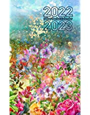 2 Year Pocket Calendar 2022-2023: Abstract Flowers Painting Cover Design, Two Year Monthly Planner with Federal Holidays | Appointment Schedule Organizer Small Size for Purse | Birthday, Contact, Password Log and More