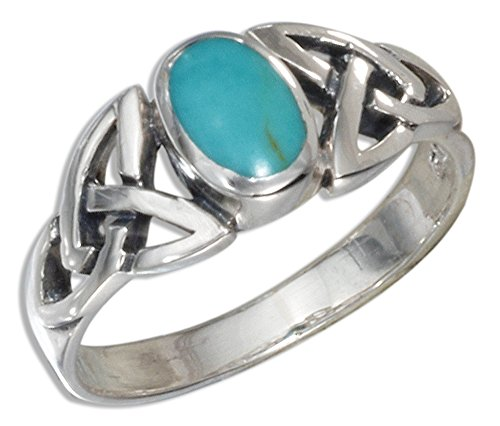 Sterling Silver Oval Simulated Turquoise Ring with Celtic Knots Shank (size 09)