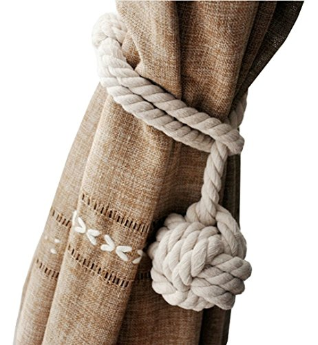 EleCharm 1Pair American Hand Knitting Curtain Rope Rural Cotton Rope Tie Band (Beige)