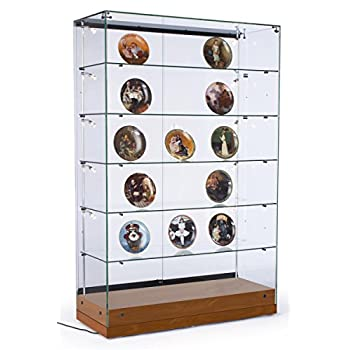"48""w Glass Curio Cabinet with 10 Side Lights and 5 Height-Adjustable Glass Shelves, Display Case Tower Includes Sliding Glass Doors - Cherry Laminate, MDF Base"