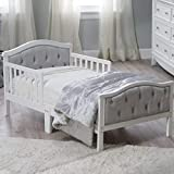 Padded and upholstered head and footboard Upholstery is ultra-soft micro-fiber polyester Decorative 'crystal' Dimensions: 53L x 30W x 27H in white finish Fits a standard crib mattress