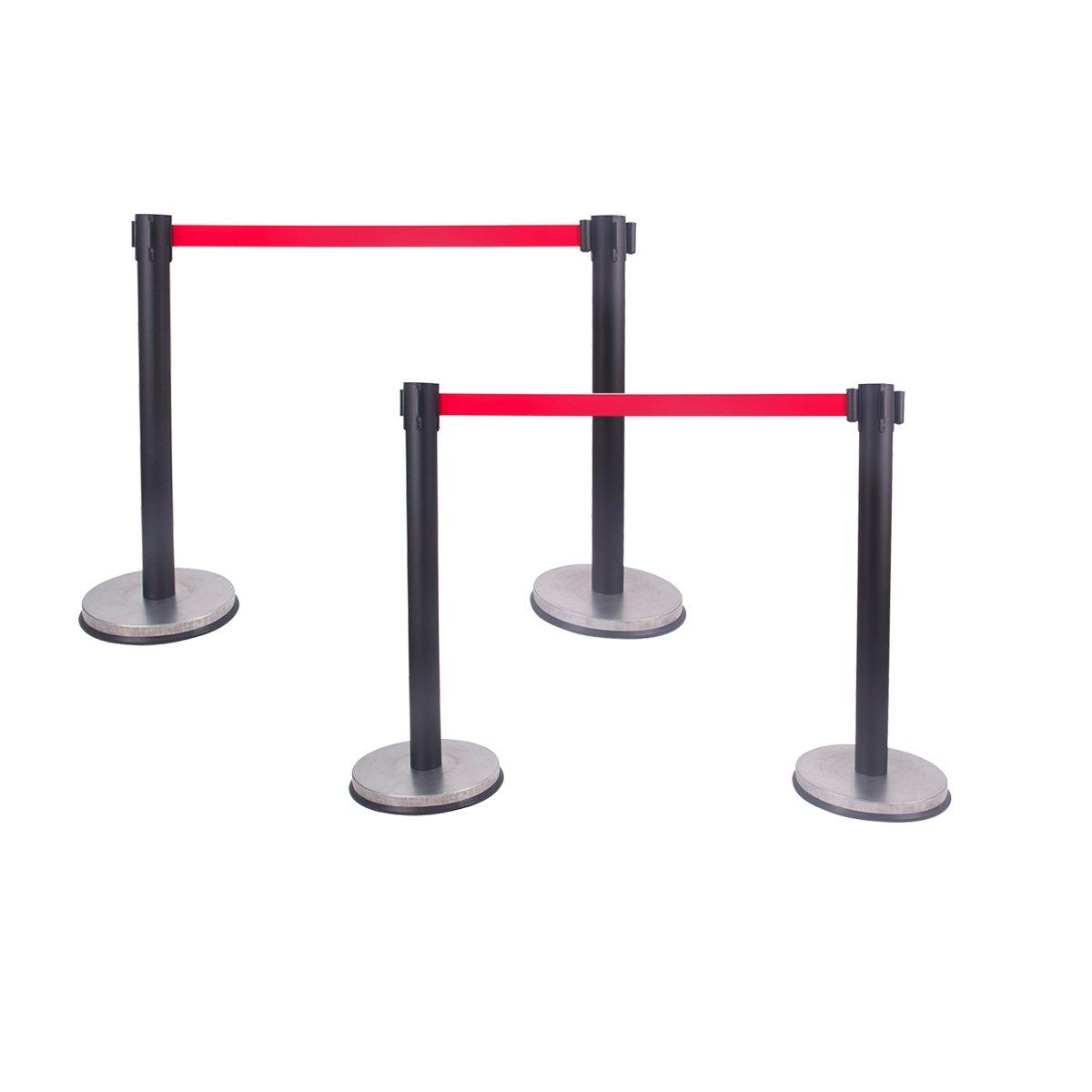 Retractable Belt Stanchion, Queue Pole,Red Belt, Crowd Control Barrier Black