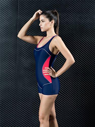 d5cba3cc4241 Quibine Damen Sport Figuroptimizer Badeanzug One Piece Racerback Scoop Neck  Badeanzug mit Boxer Hose Badeanzug Bademode Body Suit Bathing Suit Swimwear  ...