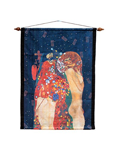 (RaanPahMuang Brand Wall Hanging Tapestry Print of Famous Works of Art, Gustav Klimt - Water Serpents II)