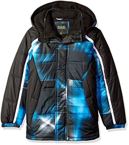 iXtreme Baby Boys' Light Source Plaid Puffer, Blue, 24 Months