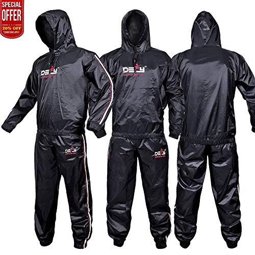 DEFY Heavy Duty Sweat Suit Sauna Exercise Gym Suit Fitness, Weight Loss, Anti-Rip, with Hood (Small)