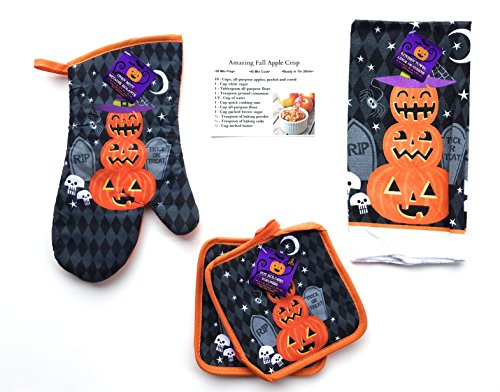Halloween Kitchen Towel Decorative Set - Includes Two Pot Holders, Towel, and Oven Mitt - Spooky Happy Halloween With Pumpkins - Includes Recipe Card (Cute Halloween Treat Recipes)