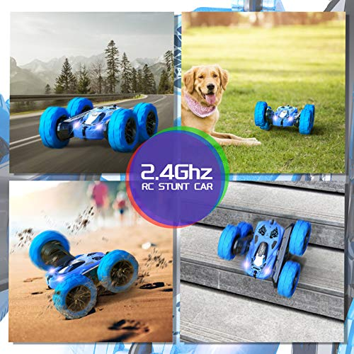 RC Cars Stunt Car Toy, SHARKOOL 4WD 2.4Ghz Remote Control Car Double Sided Rotating Vehicles 360° Flips, Kids Toy Cars for Boys & Girls Birthday (Pearl Blue)