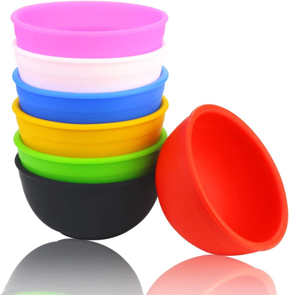 Fireboomoon 7 PCS Mini Silicone Pinch Bowls,1.75 Ounce/50 ML,Reusable Prep and Serve Bowls for DIY Crafts,Condiments,Sauce,Dips,Candy,Fruits,Snacks,Appetizer(Multicolor)