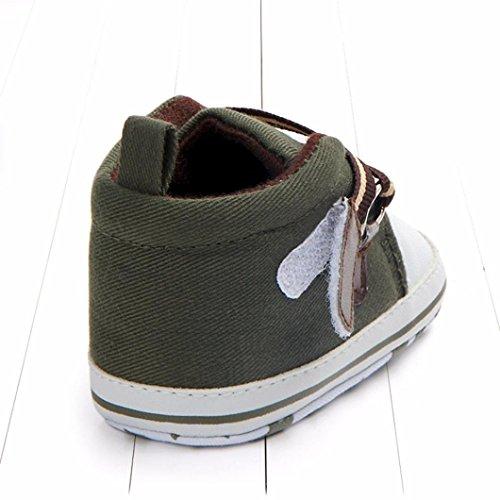 Jamicy® Babyschuhe, Neugeborene Jungen Mädchen Leinwand Cross-gebundene Anti-Rutsch-Weiche Sohle Schuhe Armeegrün