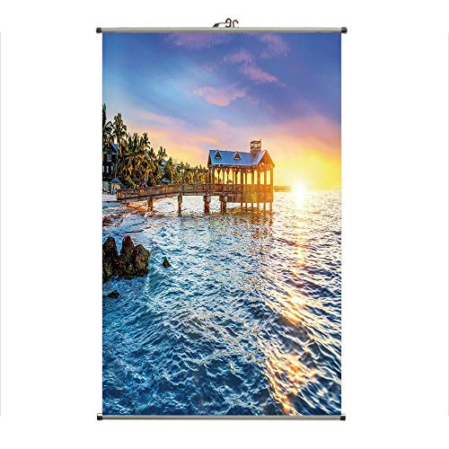 Scroll Diamond Key - iPrint Wall Hanging Picture Wall Scroll Poster Fabric Painting,Key West Florida USA Tropical Summer Paradise,3D Print Design Personality Customization Make Your Room unique23.6 X43.3