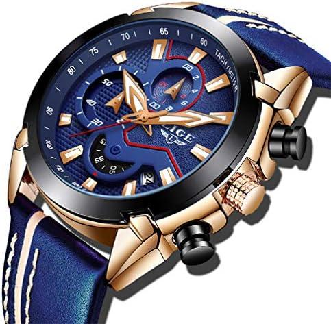 Mens Watches Fashion Sports Analog Quartz Watch Men Gold Black Waterproof Date Watch LIGE Luxury Brand Casual Leather Chronograph Wrist Watch