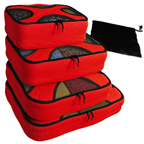 XYDQ 4pc Set Packing Cubes - Travel Organizers with Laundry Bag (4in 1 Crib Honey)