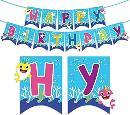 Amazon.com: Baby Shark - Pancarta de cumpleaños para niños ...