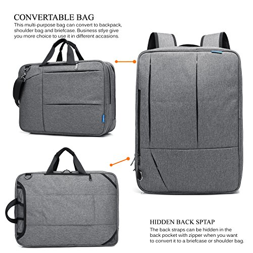 CoolBELL Convertible Messenger Bag Backpack Shoulder Bag Laptop Case Handbag Business Briefcase Multi-Functional Travel Rucksack Fits 17.3 inch Laptop for Men/Women (Grey) by CoolBELL (Image #1)