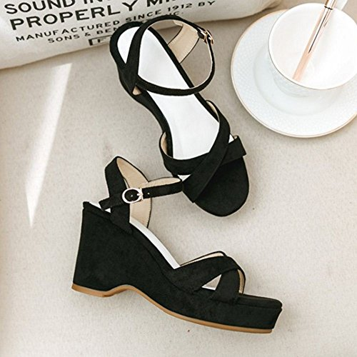 Sandals TAOFFEN Black 2 Women Fashion Platform ROwtAq